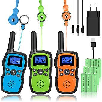 FengChun Walkie Talkie Kinder 3er Set Aufladbar Akku mit Usb Ladegeraet 3X3000mAh Batterie