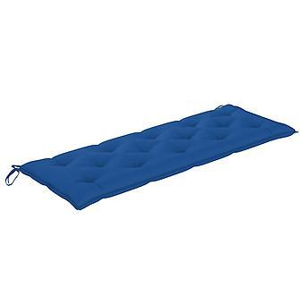 vidaXL Batavia banco de jardín con almohadilla azul 150 cm de teca de madera maciza