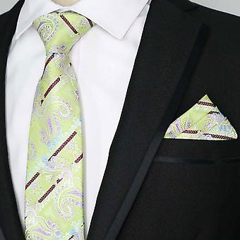 Mint green & purple stripe paisley pocket square & tie