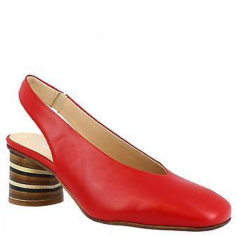 Leonardo Shoes Women's handmade mid heels slingback pumps shoes in red napa leather