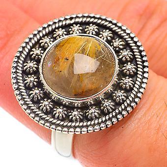 Rutilated Quartz Ring Size 7 (925 Sterling Silver)  - Handmade Boho Vintage Jewelry RING66200