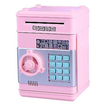 Vaaleanpunainen lasten rahaa säästävä pankkitalletuslaatikko älykäs ääni mini turvallinen kolikko holvi lapsille, joilla on pääsykoodi (vaaleanpunainen painike rom väri) dt4266