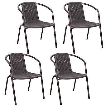 Set von 4 Brown Garden Patio Rattan Stacking Chairs