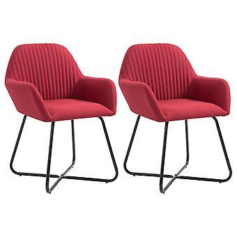 vidaXL Dining chairs 2 pcs. wine red fabric