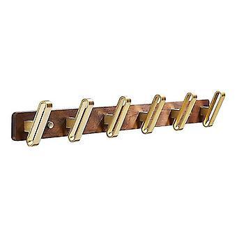 Solid Wood Bathroom Coat Hook Brushed Gold Towel Hook