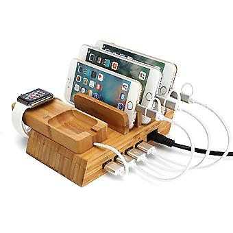 4 Ports Bamboo Charging Station For Iphone Samsung Iwatch