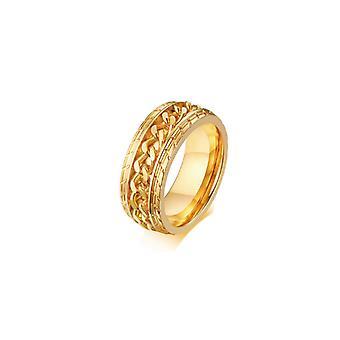 (9) Roestvrij stalen ringen voor mannen ketting ringen biker gegroefde rand - goud goud 9