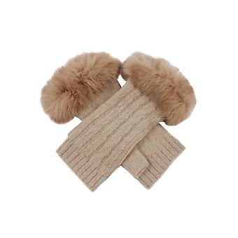 Dents women's lambswool arm warmers with fur cuff awo79963