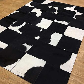 Mattor - Patchwork läder kubik kohud - svart & vit