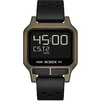 Nixon A1320-1085 Heat Surplus Lcd Digital Khaki Steel & Black Rubber Watch