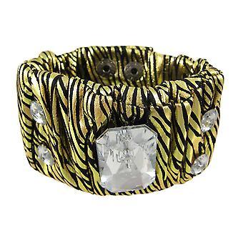 Metallic Gold Zebra Print Fabric Crystal Wristband