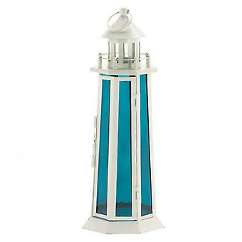 Gallery of Light Lighthouse Candle Lantern with Ocean Blue Glass, Pack of 1