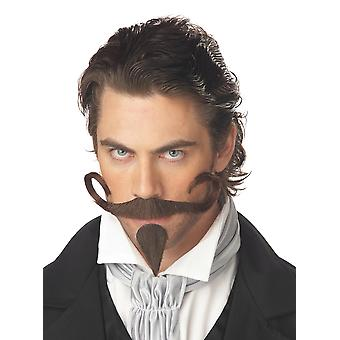 The Gambler Brown Men Costume Moustache Chin Patch