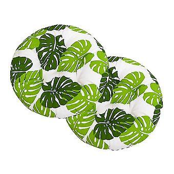 Chaises homemiyn round cotton linen nine nail printed cushion 40x40cmx 2 pieces green and white