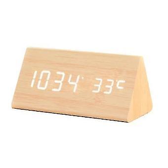 Alarm clocks digital alarm clock  with wooden electronic led time display  3 alarm settings  humidity