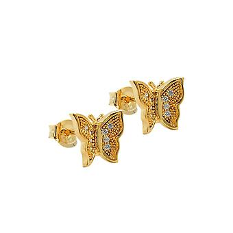 Stud Earrings Butterfly With Zirconia 3 Micron Gold Plating 43070 43070 43070