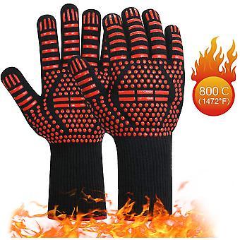 Bbq rukavice, teplé rukavice, zimní rukavice, zahradnické rukavice, venkovní rukavice, vysoká teplota, opařené a zpomalující hoření bavlněné rukavice, pár červených