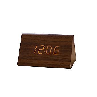 Usb / aaa klockor led trä väckarklocka klocka tabell röststyrning digital trä despertador elektronisk skrivbord bordsdekor