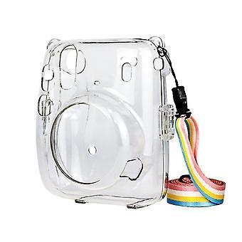 Instant kamera tok Instax Mini 11 bőr táska átlátszó védőhéj instax Mini11 ütésálló hordtáska fedélhez