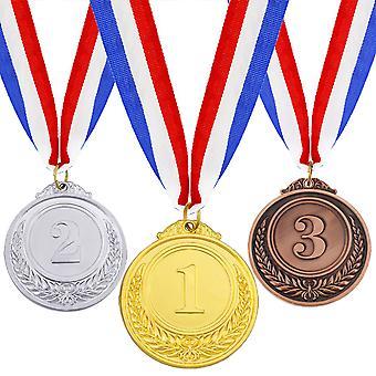 Kultahopea pronssi palkintomitalit kaulanauhalla, olympiatyylinen metallin voittajamitali, 3kpl
