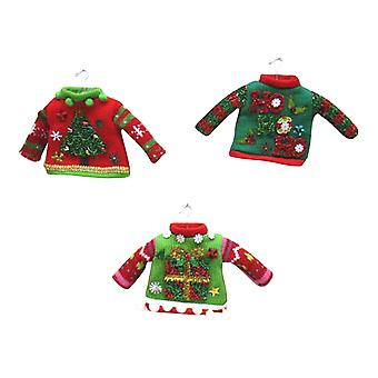 December Diamonds Miniature Tacky Red Green Sweaters Set of 3 Holiday Ornaments
