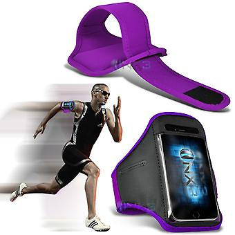 Huawei Honor 6 Plus Fitness Running Jogging Cycling Gym Armband Holder Case Cover (Purple)