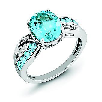 925 Sterling Silber Diamant und Licht Schweizer blau Topas Ring Schmuck Geschenke für Frauen - Ring Größe: 5 bis 10