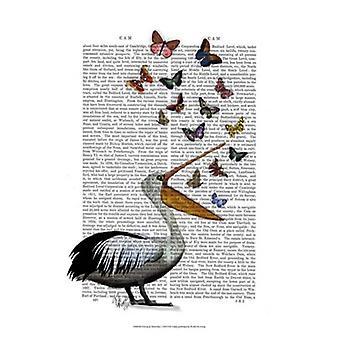 Pelican & fjärilar affisch Skriv av Fab Funky (13 x 19)