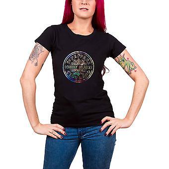 Beatles T paita Sgt Pepper folio tulosta virallinen naisten uusi musta Skinny Fit