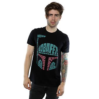 Star Wars Herren Boba Fett Text Kopf T-Shirt