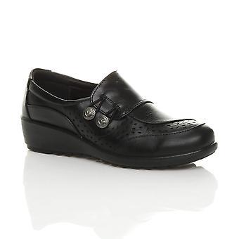 Ajvani womens low mid wedge heel button work padded brogue comfort shoes