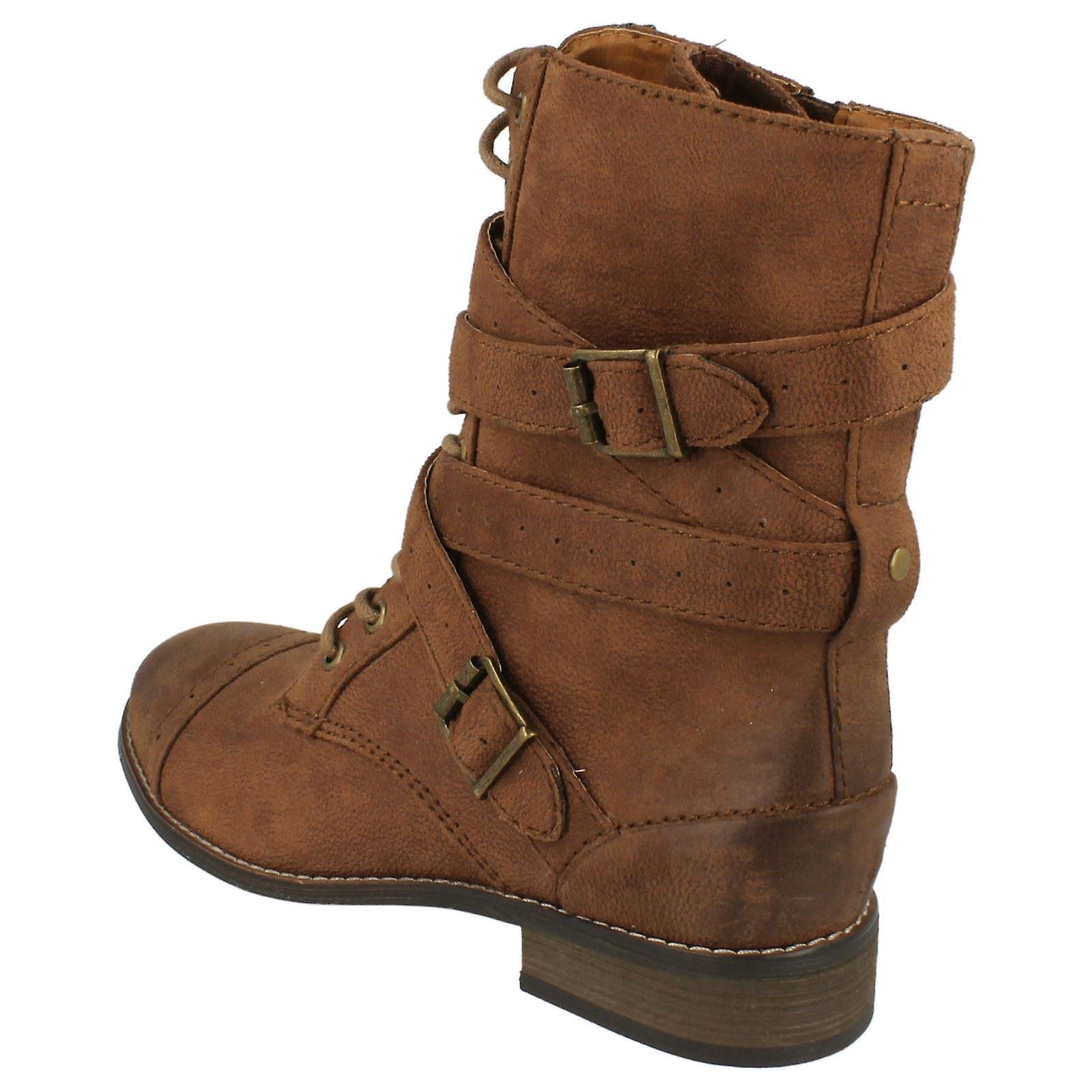 Dames Coco militaire stijl Lace Up platte laarzen L8641 MCLEtG
