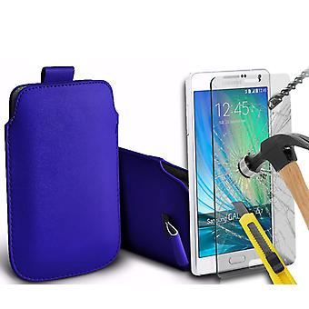 """For Huawei P20 Pro (6.1"""") - Faux Leather Pull Tab Pouch Skin Case Cover with Tempered Glass (Blue) by i-Tronixs"""