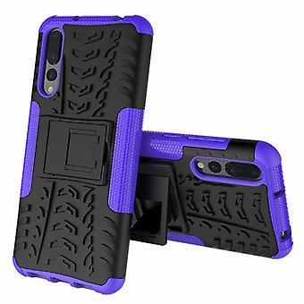 Für Huawei P20 Pro Hybrid Case 2teilig Outdoor Lila Etui Tasche Hülle Cover Schutz
