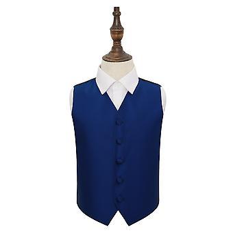 Royal Blue Solid Check Wedding Waistcoat for Boys