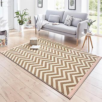 Designer velour carpet Meridian Rosa Brown cream