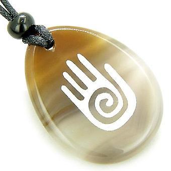 Infini protection Bouddha à la main amulette Agate naturelle bonne chance collier