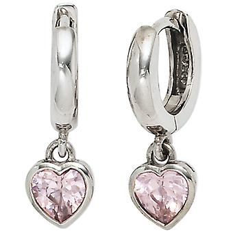Earrings hoops heart 925 sterling silver with 2 pink cubic zirconia earrings children's jewellery