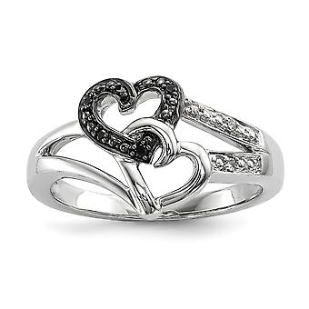 925 Sterling Silver Polished Prong set Open back Black and White Diamond Love Heart Ring Jewelry Gifts for Women - Ring