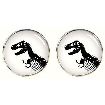 Bassin et Brown boutons de manchettes Dinosaur - blanc/noir