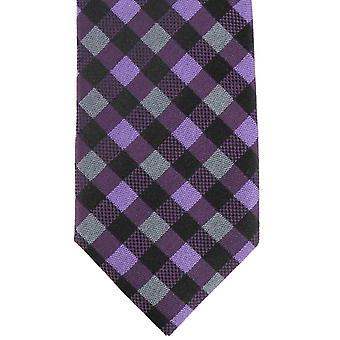 Knightsbridge Neckwear Checked Silk Skinny Tie - Purple/Grey