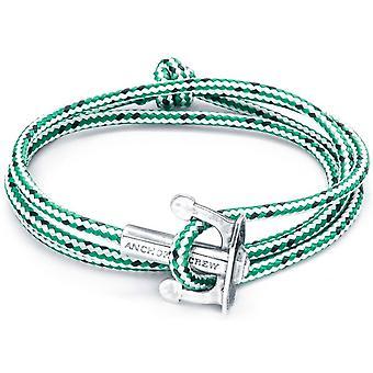 Anker und Crew Union Silber und Seil Armband - grüner Strich