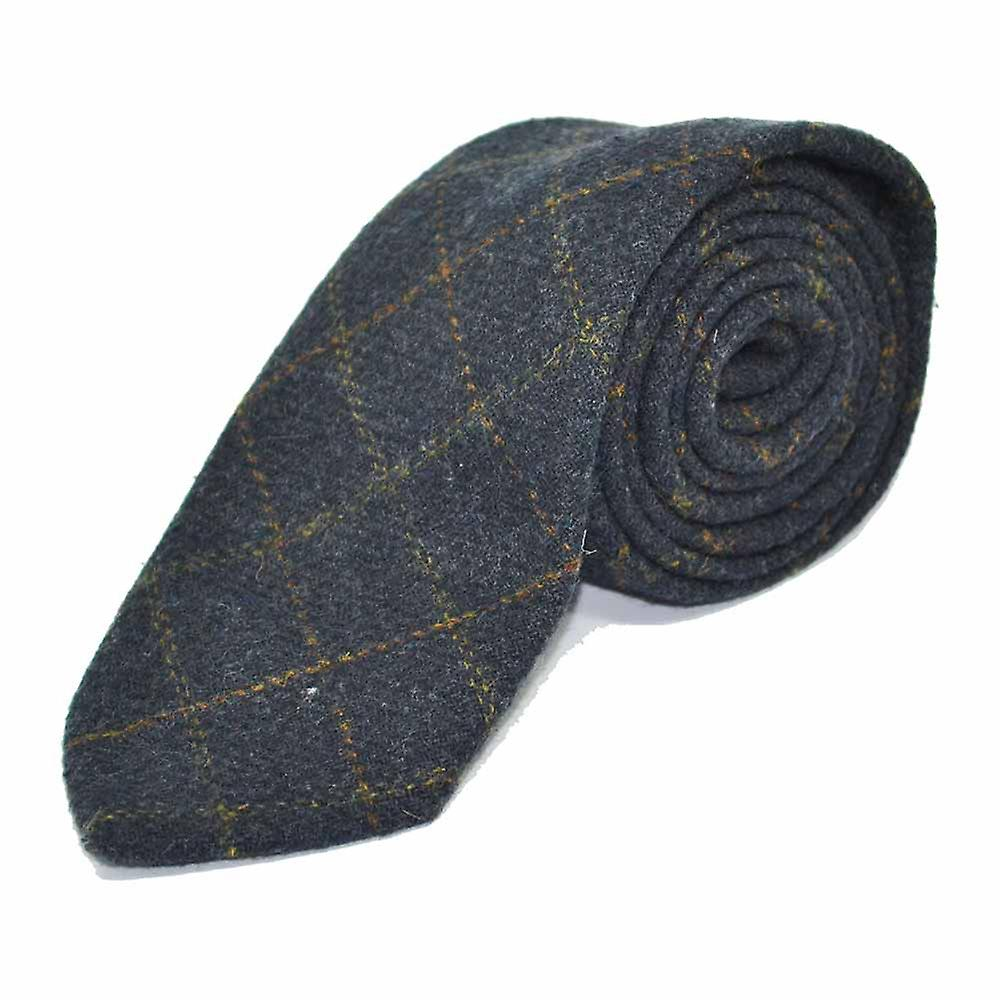 Heritage Check Navy Blue Tie & Pocket Square Set - Tweed, Plaid Country Look | Boxed