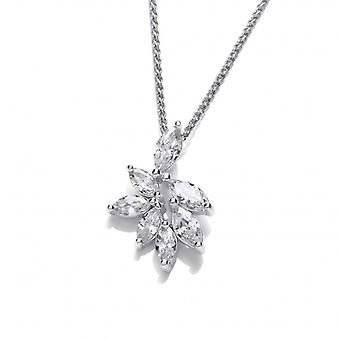 """Cavendish French Silver and CZ Iris Pendant with 16-18"""" Silver Chain"""