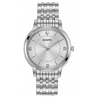 Bulova Women's Diamond Dial Stainless Steel Bracelet 96P183 Watch