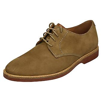 Mens Clarks Casual Lace Up schoen Atticus Lace - zand Nubuck - UK Size 6G - EU formaat 39,5 - Amerikaanse 7M