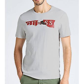 GUESS Light Grey Ripped Logo T-shirt