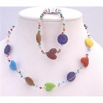 Multicolored Heart Multicolroed Round Flat Beads Girls Return Jewelry