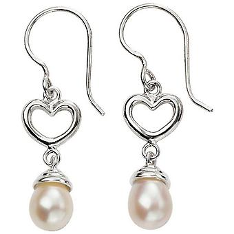 Beginnings Heart and Pearl Drop Earrings - Silver