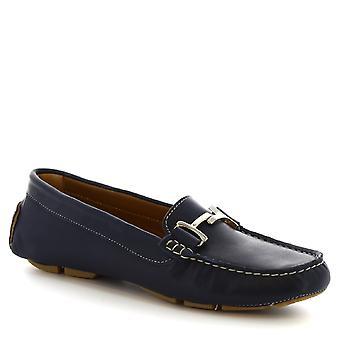 Leonardo schoenen vrouwen handgemaakte bits instappers blauw kalfsleder & rubber enige